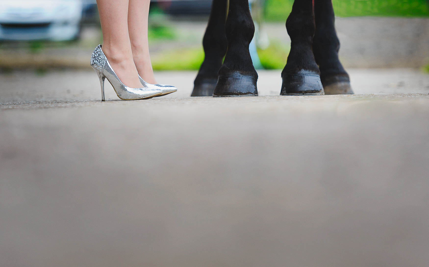 High heeled shoes and horses